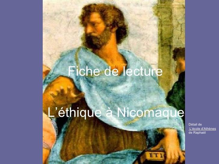 Fiche de lecture L'éthique à Nicomaque Détail de L'école d'Athènes  de Raphaël