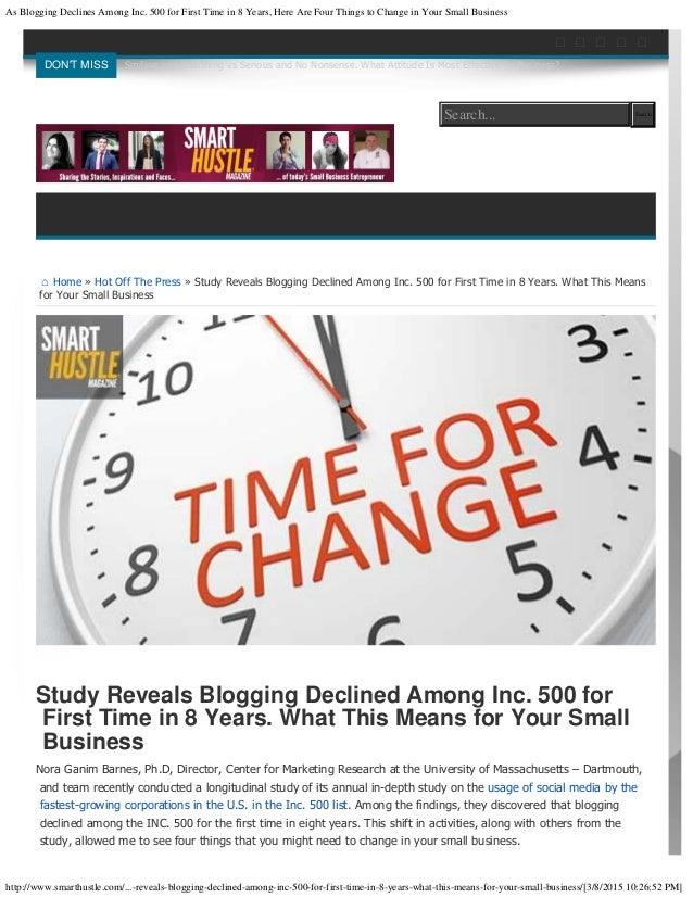 As Blogging Declines Among Inc. 500 for First Time in 8 Years, Here Are Four Things to Change in Your Small Business http:...