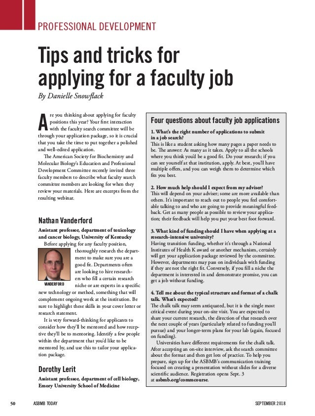 Faculty Application Tips and Tips