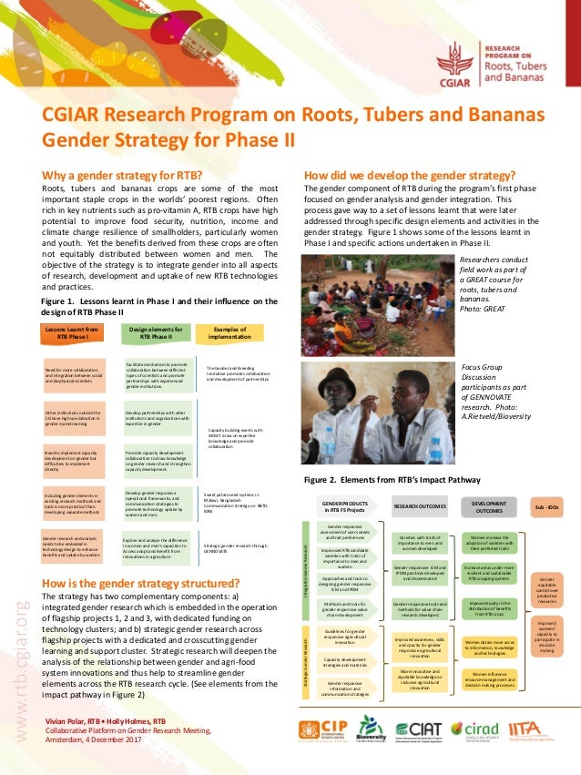 CGIAR Research Program on Roots, Tubers and Bananas Gender Strategy for Phase II Vivian Polar, RTB • Holly Holmes, RTB Col...