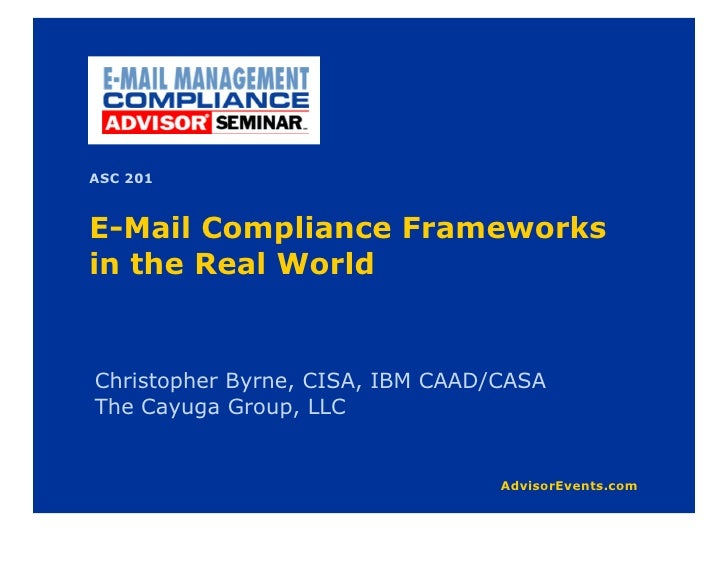 """Why We Are Here What compliance and governance is and why you should care Distinguishing Myth from Reality Going Beyond """"J..."""
