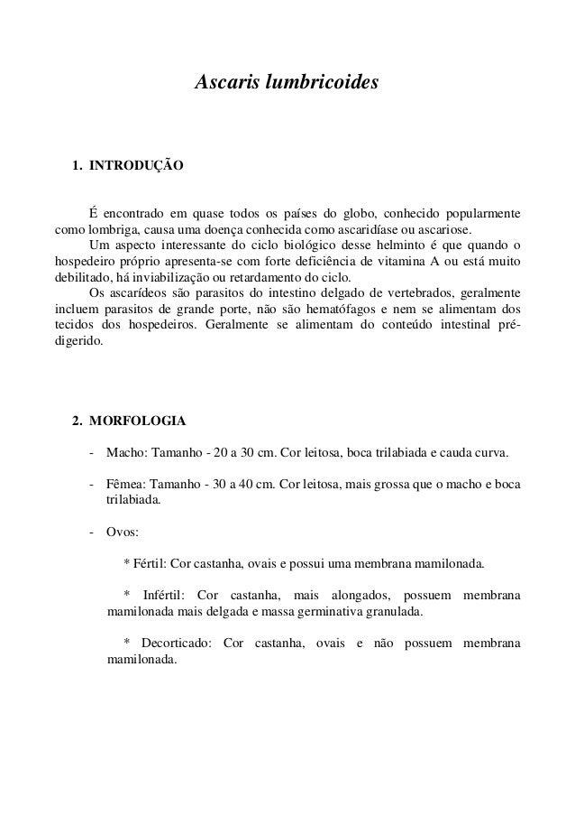 Ascaris lumbricoides  1. INTRODUÇÃO É encontrado em quase todos os países do globo, conhecido popularmente como lombriga, ...