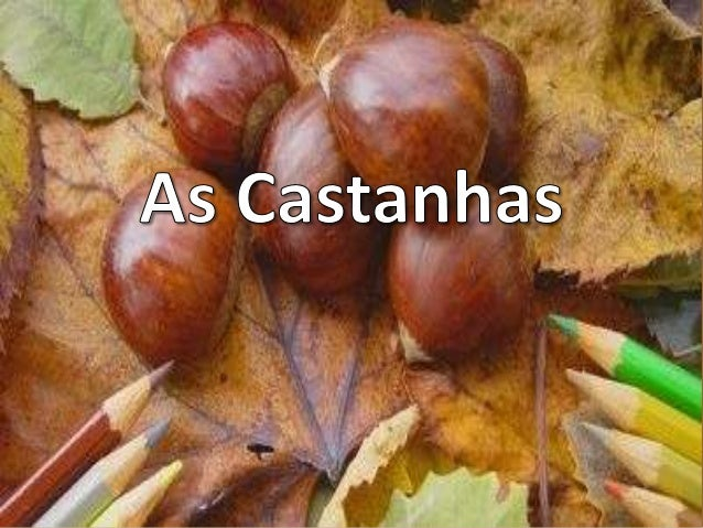 Castanhas   As castanhas são sementes que nascemdentro dos ouriços.   A castanha já existe há mais de cem milanos. É um al...