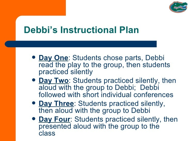 Debbi's Instructional Plan <ul><li>Day One : Students chose parts, Debbi read the play to the group, then students practic...