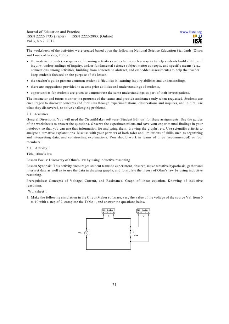 A scenario based learning of electrical circuits