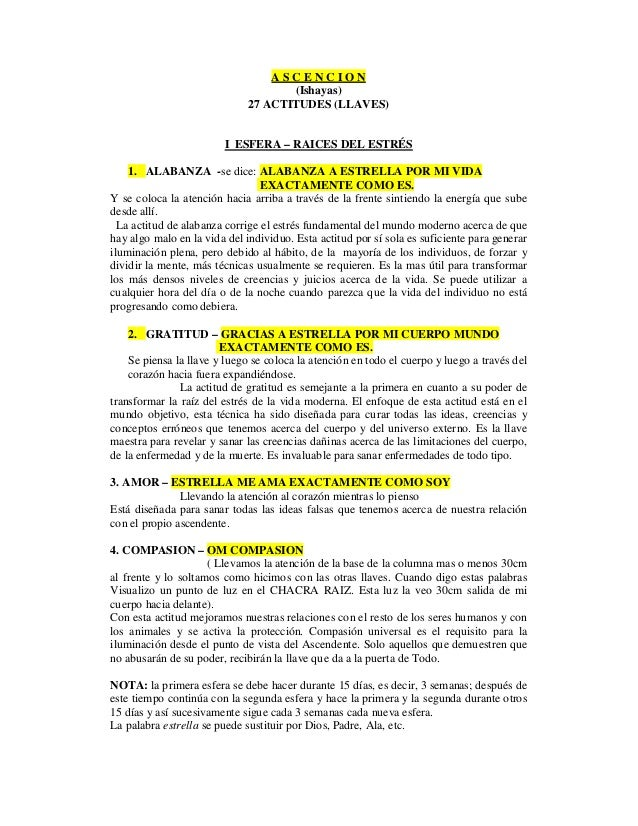 ASCENCION                                     (Ishayas)                              27 ACTITUDES (LLAVES)                ...