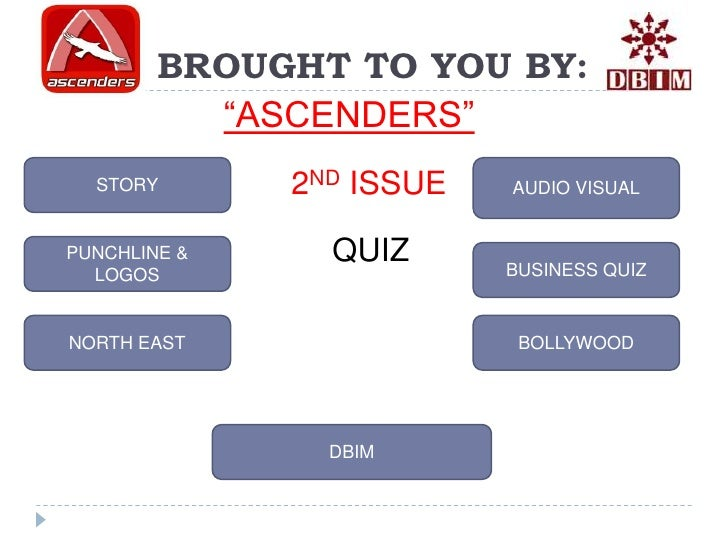 "BROUGHT TO YOU BY:          ""ASCENDERS""  STORY       2ND ISSUE   AUDIO VISUALPUNCHLINE &     QUIZ      BUSINESS QUIZ  LOGO..."