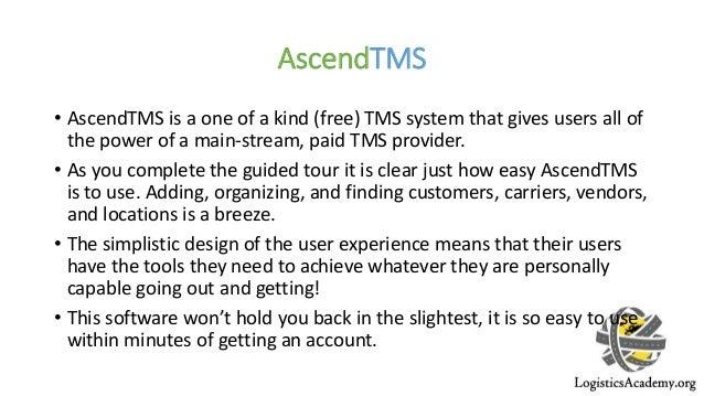 Ascend tms review – free transportation management system