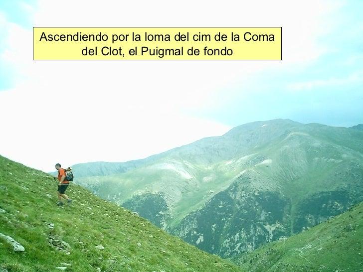 Ascendiendo por la loma del cim de la Coma del Clot, el Puigmal de fondo