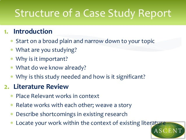 introduction to the case study Understand the parts of a case study report including the executive summary, introduction, analysis, criteria, recommendations, conclusion, and references.