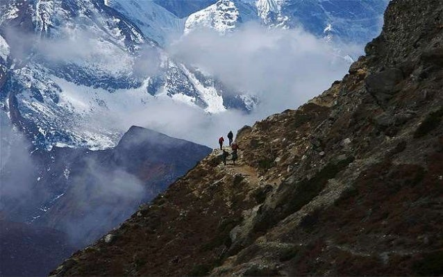 Mount Ama Dablam, which stands approximately 22310 feet above sea level, is seen behind Khumjung Village in Solukhumbu Dis...