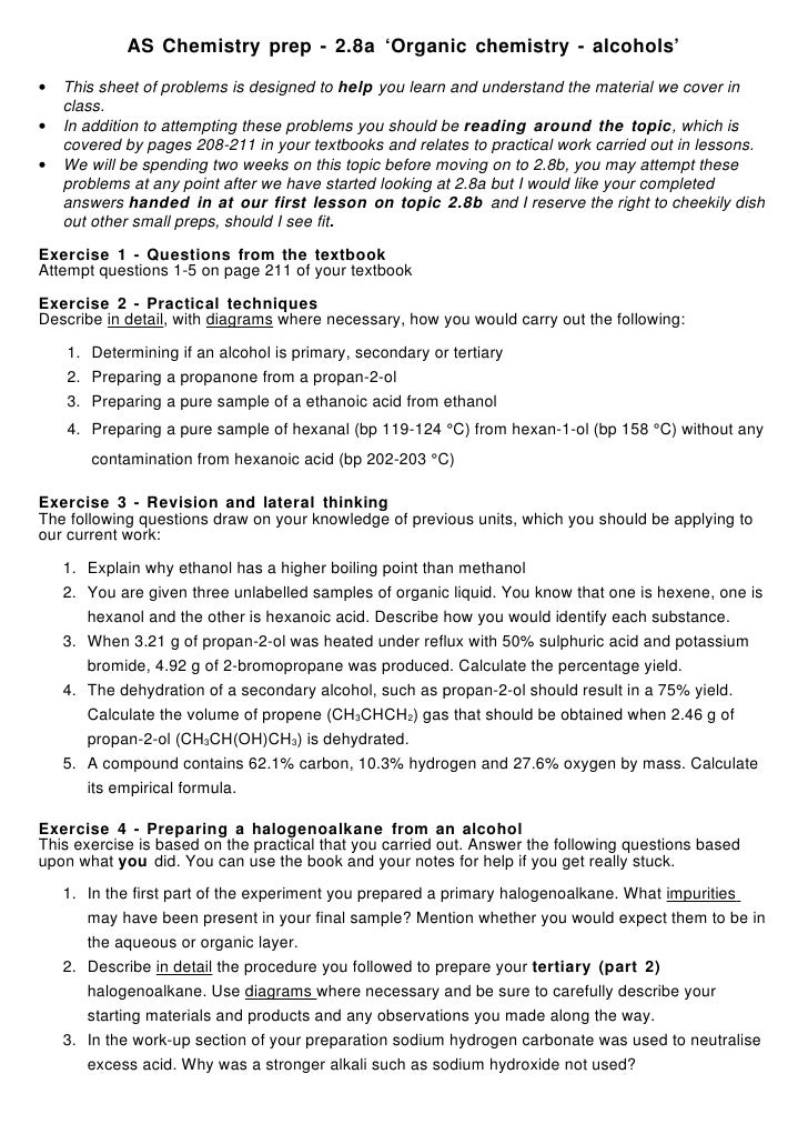 AS Chemistry prep - 2.8a 'Organic chemistry - alcohols'  •   This sheet of problems is designed to help you learn and unde...