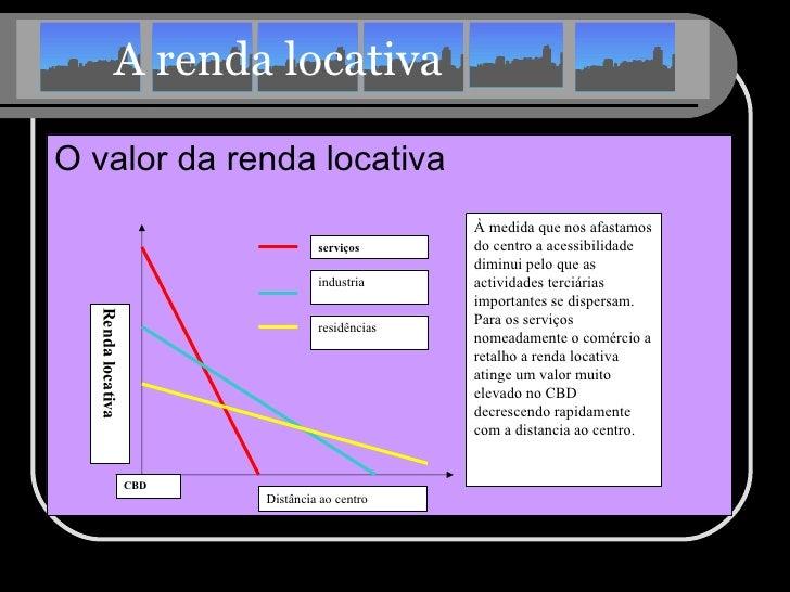 A renda locativa <ul><li>O valor da renda locativa </li></ul>CBD Distância ao centro Renda locativa serviços industria res...