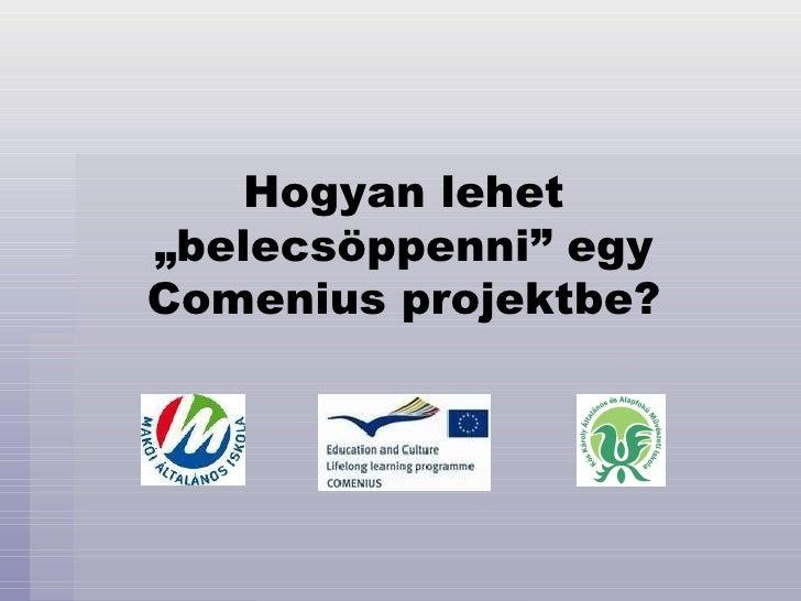 """Hogyan lehet """"belecsöppenni"""" egy Comenius projektbe?"""