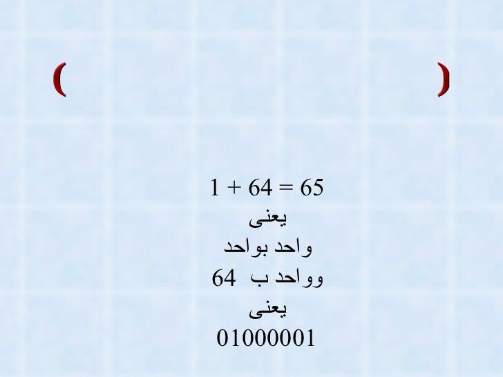الأنظمه الكوديه الشفريه (الأكواد وفك الأكواد) الربط الذهنى بين النظامين 65 = 64 + 1 يعنى واحد بواحد وواحد ب  64 يعنى 01000...