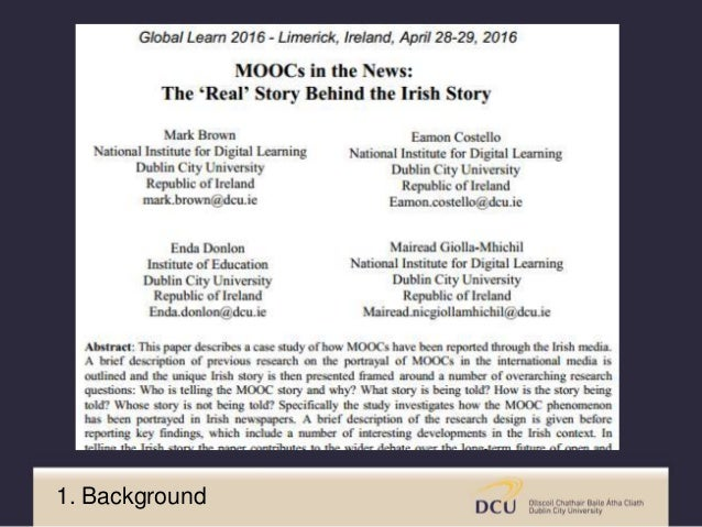 • Who is telling the MOOC story? • How are they telling the MOOC story? • What are we being told about MOOCs? • What is mi...