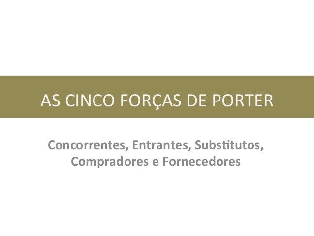 AS  CINCO  FORÇAS  DE  PORTER   Concorrentes,  Entrantes,  Subs0tutos,   Compradores  e  Fornecedores...