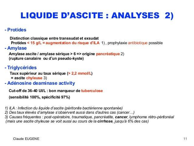 LIQUIDE D'ASCITE : ANALYSES 2) - Protides Distinction classique entre transsudat et exsudat Protides < 15 g/L = augmentati...