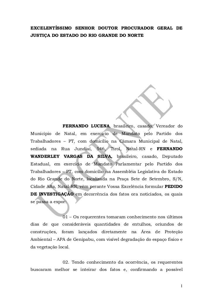 EXCELENTÍSSIMO SENHOR DOUTOR PROCURADOR GERAL DEJUSTIÇA DO ESTADO DO RIO GRANDE DO NORTE               FERNANDO LUCENA, br...