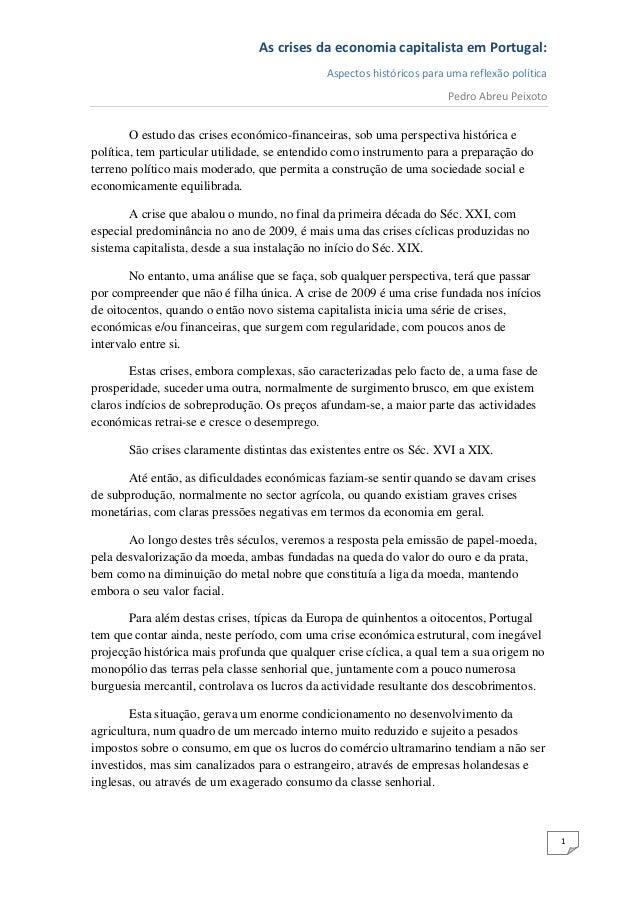 As crises da economia capitalista em Portugal:                                             Aspectos históricos para uma re...