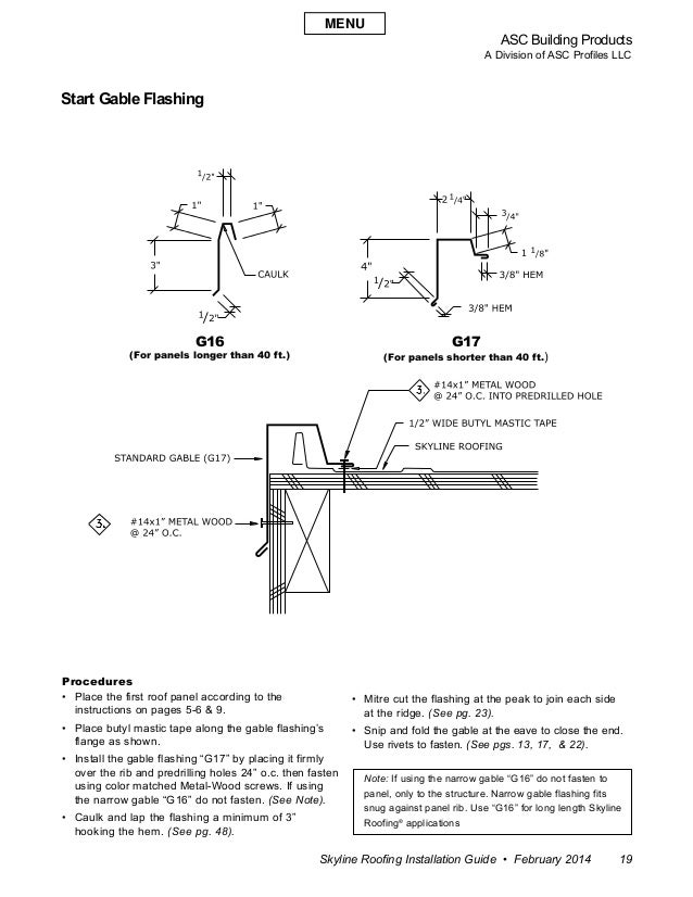 ASC Building Products A Division of ASC Profiles LLC Skyline Roofing Installation Guide • February 2014 19 Procedures • P...