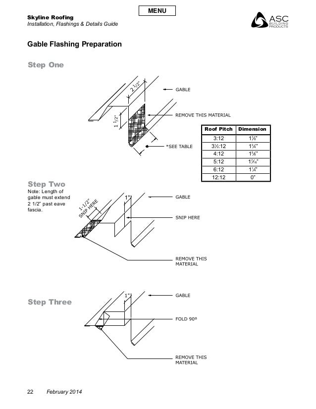 Skyline Roofing Installation, Flashings & Details Guide 22 February 2014 Gable Flashing Preparation Step One Step Two Note...