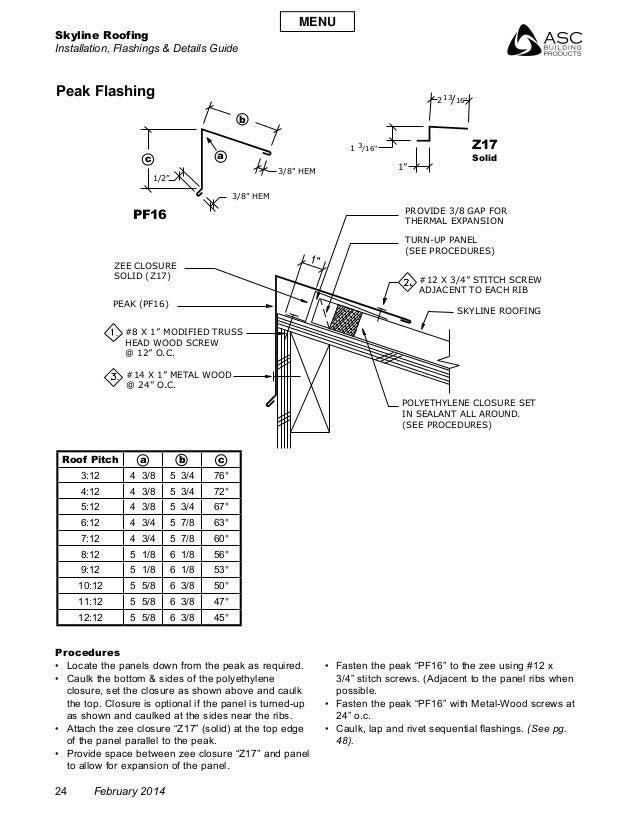 "Skyline Roofing Installation, Flashings & Details Guide 24 February 2014 "" 1 /16""3 2 /16""13 3/8"" HEM TURN-UP PANEL (SEE PR..."