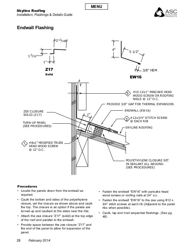 "Skyline Roofing Installation, Flashings & Details Guide 28 February 2014 1"" /16""3 /16""13 5 1/2"" 4"" 1"" 2 1 3/8"" HEM #10-12x..."