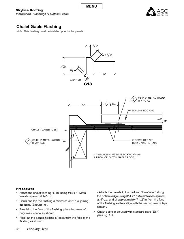 "Skyline Roofing Installation, Flashings & Details Guide 36 February 2014 5"" 6"" 3 1"" 1 /2""1 /8""5 /4""3 /8""7 1 /8""5 3/8"" HEM ..."