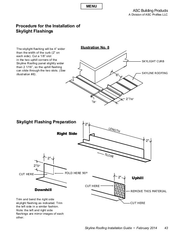ASC Building Products A Division of ASC Profiles LLC Skyline Roofing Installation Guide • February 2014 43 Procedure for t...