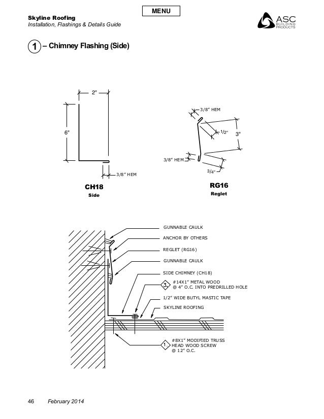 """Skyline Roofing Installation, Flashings & Details Guide 46 February 2014 CH18 Side RG16 Reglet 2"""" 6"""" /2""""1 /4""""3 3"""" GUNNABLE..."""