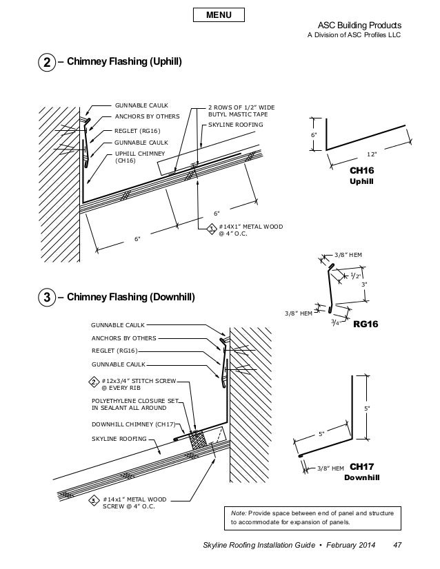 """ASC Building Products A Division of ASC Profiles LLC Skyline Roofing Installation Guide • February 2014 47 6"""" 3"""" 5"""" 5"""" 6"""" ..."""