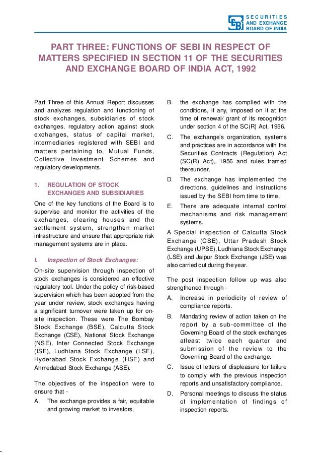 SECURITIES AND EXCHANGE BOARD OF INDIA  PART THREE: FUNCTIONS OF SEBI IN RESPECT OF MATTERS SPECIFIED IN SECTION 11 OF THE...