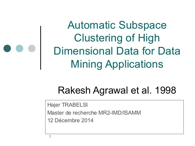 1  Automatic Subspace  Clustering of High  Dimensional Data for Data  Mining Applications  Rakesh Agrawal et al. 1998  Haj...