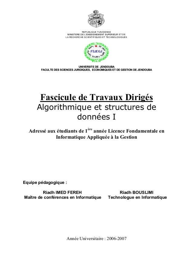 REPUBLIQUE TUNISIENNE MMIINNIISSTTEERREE DDEE LL''EENNSSEEIIGGNNEEMMEENNTT SSUUPPEERRIIEEUUR ET DE LA RECHERCHE SCIENTIFIQ...