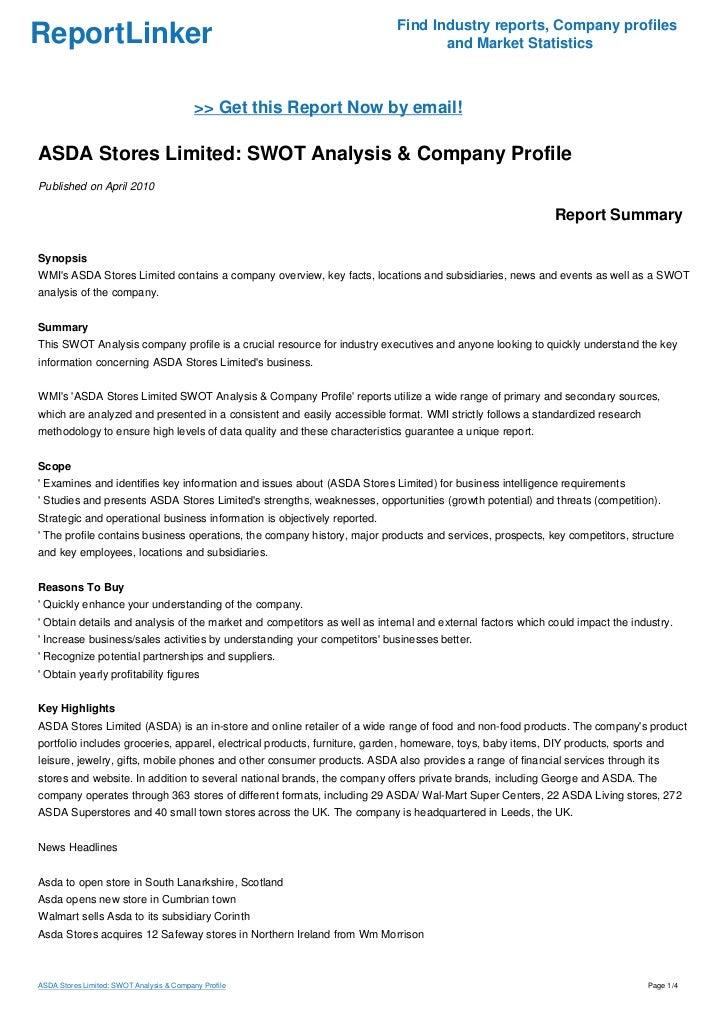 asda swot analysis 2018