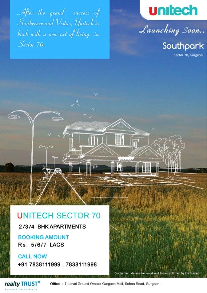 Unitech Southpark | Unitech South-Park Gurgaon | New Project Sector 70