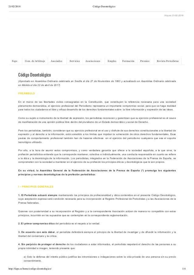 21/02/2018 Código Deontológico http://fape.es/home/codigo-deontologico/ 1/4 Hoy es 21-02-2018 Código Deontológico (Aprobad...