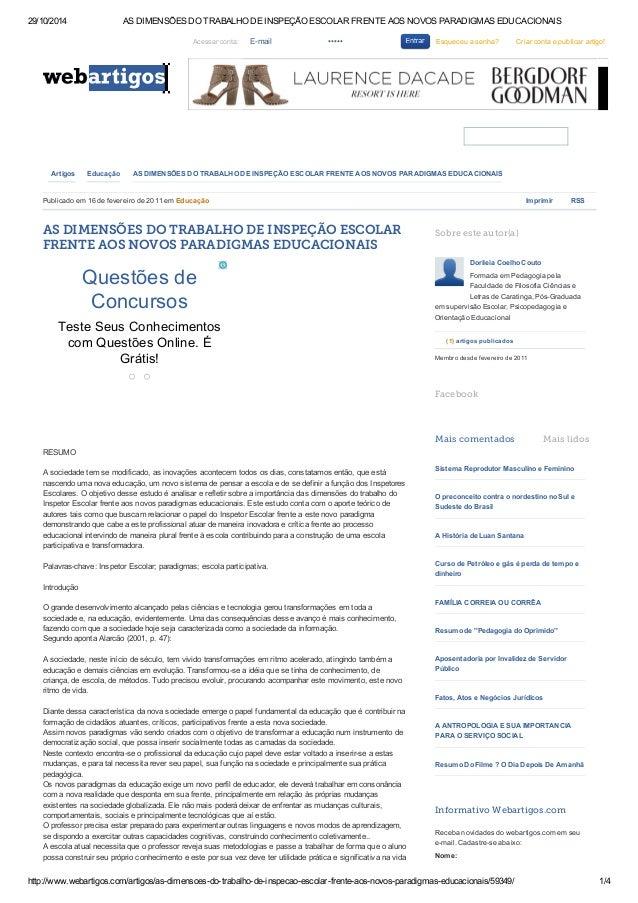 29/10/2014 AS DIMENSÕES DO TRABALHO DE INSPEÇÃO ESCOLAR FRENTE AOS NOVOS PARADIGMAS EDUCACIONAIS  Acessar conta: E-mail ••...