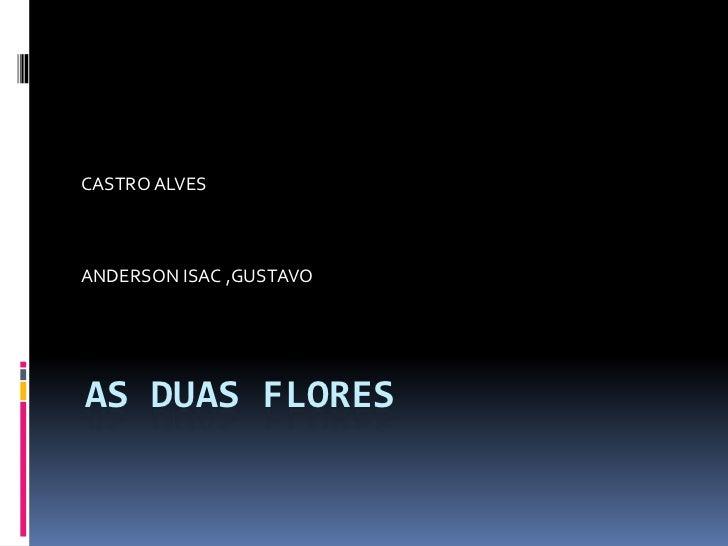 AS DUAS FLORES<br />CASTRO ALVES<br />ANDERSON ISAC ,GUSTAVO<br />