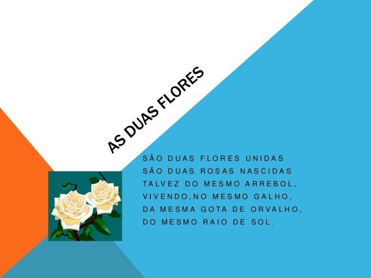 As duas flores <br />São duas flores unidas<br />São duas rosas nascidas<br />Talvez do mesmo arrebol,<br />Vivendo,no mes...
