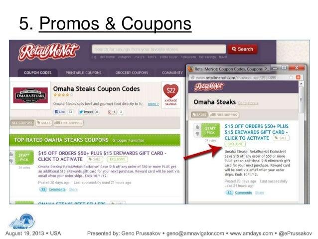 Affiliate Marketing Program Conversion Optimization Tips slideshare 5. Promos & Coupons - 웹