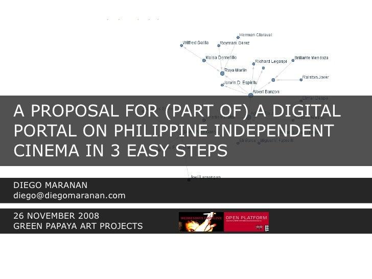 A PROPOSAL FOR (PART OF) A DIGITAL PORTAL ON PHILIPPINE INDEPENDENT CINEMA IN 3 EASY STEPS DIEGO MARANAN diego@diegomarana...