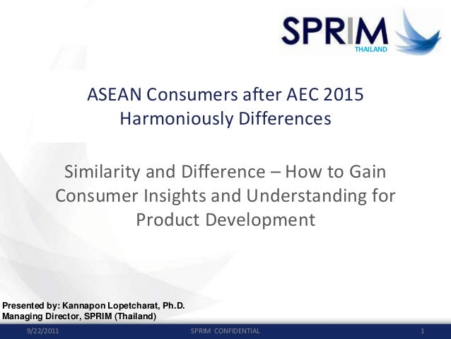 THAILAND THAILAND ASEAN Consumers after AEC 2015 Harmoniously Differences Similarity and Difference – How to Gain  Consume...