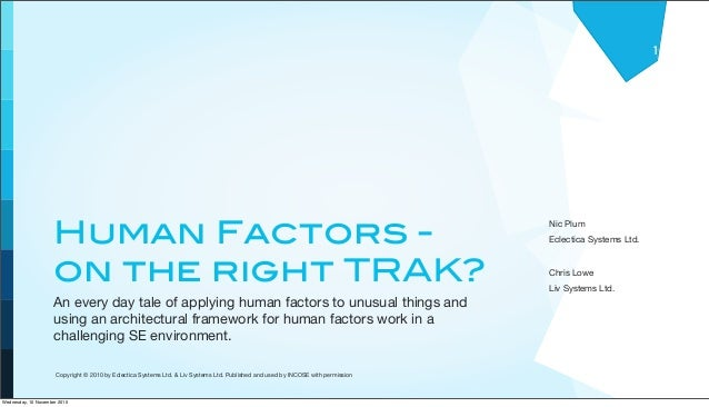 Human Factors - on the right TRAK? An every day tale of applying human factors to unusual things and using an architectura...
