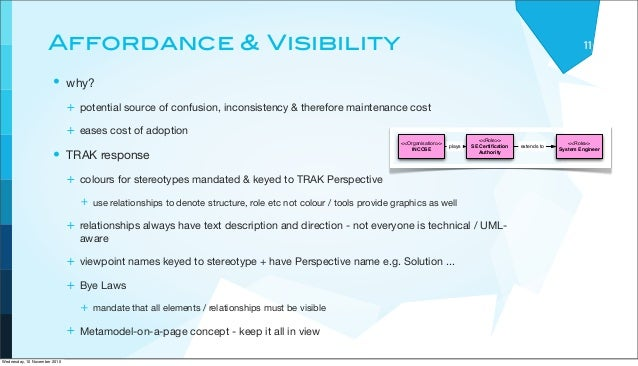 Affordance & Visibility • why? + potential source of confusion, inconsistency & therefore maintenance cost + eases cost of...
