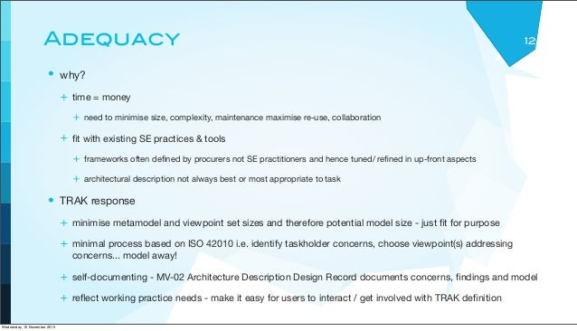 Adequacy • why? + time = money + need to minimise size, complexity, maintenance maximise re-use, collaboration + fit with e...