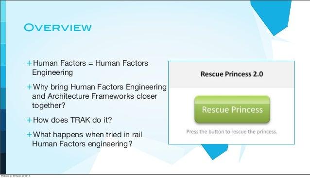 Overview +Human Factors = Human Factors Engineering +Why bring Human Factors Engineering and Architecture Frameworks close...