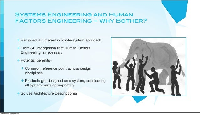 Systems Engineering and Human Factors Engineering – Why Bother? + Renewed HF interest in whole-system approach + From SE, ...