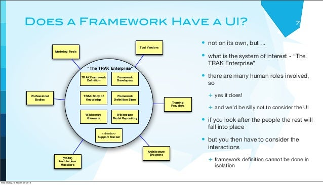 """Does a Framework Have a UI? 7 • not on its own, but ... • what is the system of interest - """"The TRAK Enterprise"""" • there a..."""
